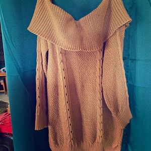 Tan off the shoulders sweater